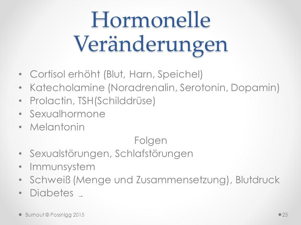 Burnout © Possnigg 2015 Hormonelle Veränderungen Cortisol erhöht (Blut, Harn, Speichel) Katecholamine (Noradrenalin, Serotonin, Dopamin) Prolactin, TS