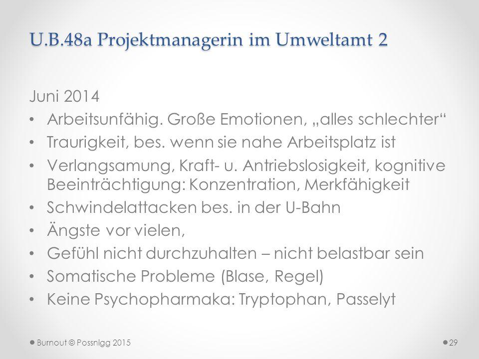 """U.B.48a Projektmanagerin im Umweltamt 2 Juni 2014 Arbeitsunfähig. Große Emotionen, """"alles schlechter"""" Traurigkeit, bes. wenn sie nahe Arbeitsplatz ist"""