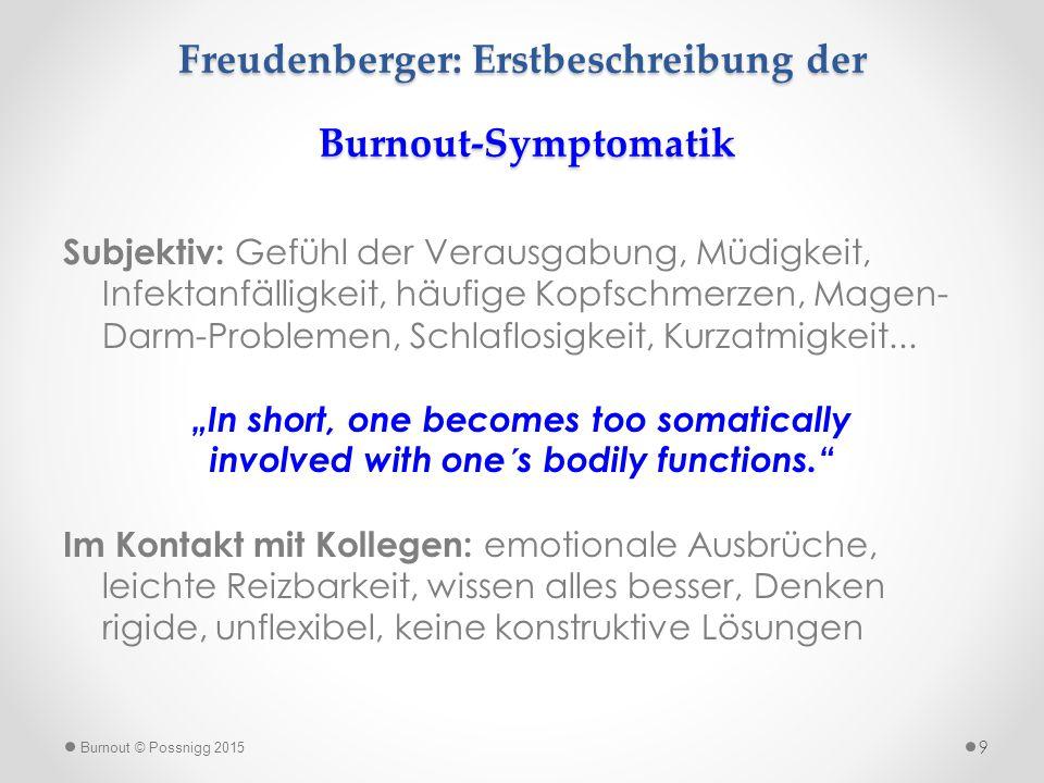Freudenberger: Erstbeschreibung der Burnout-Symptomatik Subjektiv: Gefühl der Verausgabung, Müdigkeit, Infektanfälligkeit, häufige Kopfschmerzen, Mage