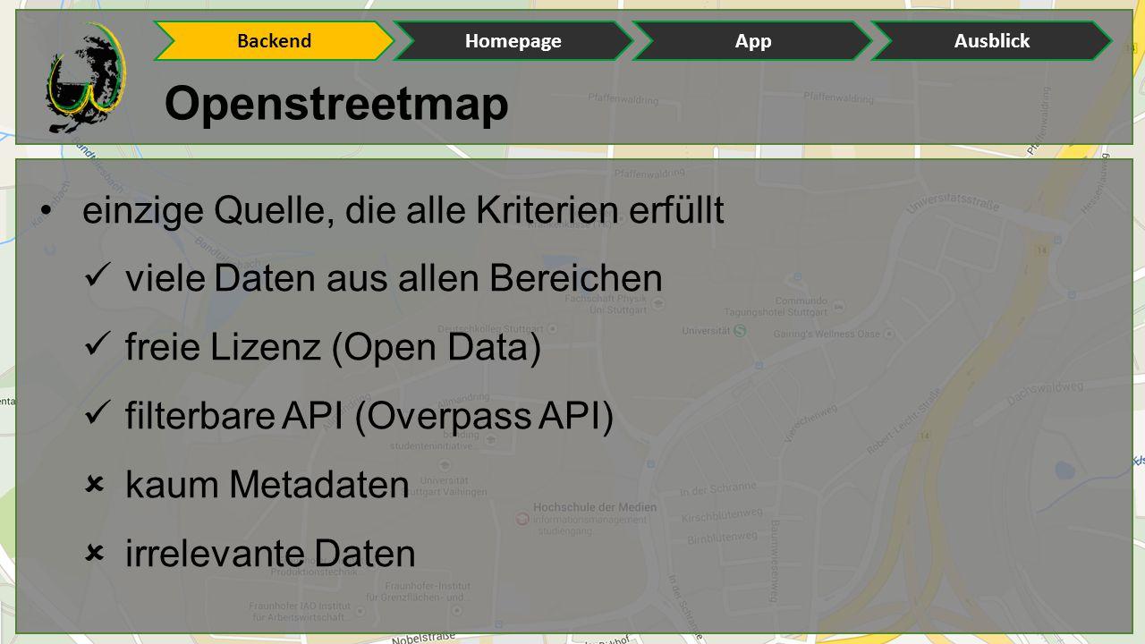 Openstreetmap einzige Quelle, die alle Kriterien erfüllt viele Daten aus allen Bereichen freie Lizenz (Open Data) filterbare API (Overpass API)  kaum Metadaten  irrelevante Daten BackendHomepageAppAusblick