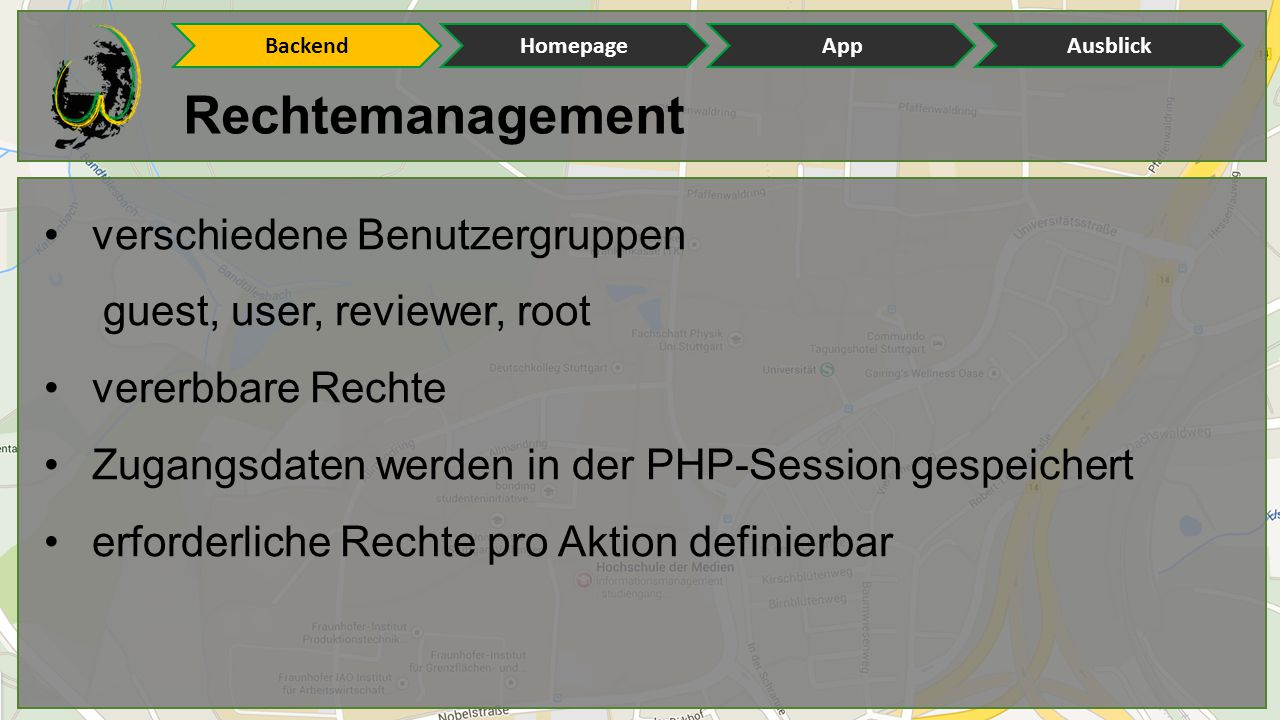 Rechtemanagement verschiedene Benutzergruppen guest, user, reviewer, root vererbbare Rechte Zugangsdaten werden in der PHP-Session gespeichert erforderliche Rechte pro Aktion definierbar BackendHomepageAppAusblick