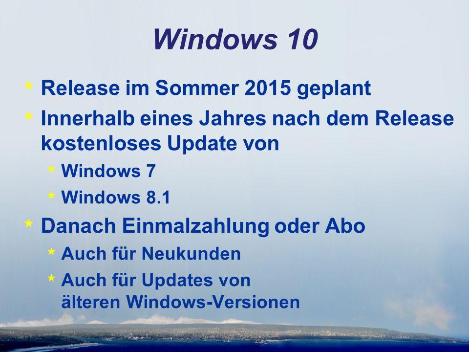 Windows 10 * Release im Sommer 2015 geplant * Innerhalb eines Jahres nach dem Release kostenloses Update von * Windows 7 * Windows 8.1 * Danach Einmal