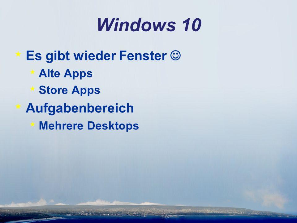 Windows 10 * Es gibt wieder Fenster * Alte Apps * Store Apps * Aufgabenbereich * Mehrere Desktops