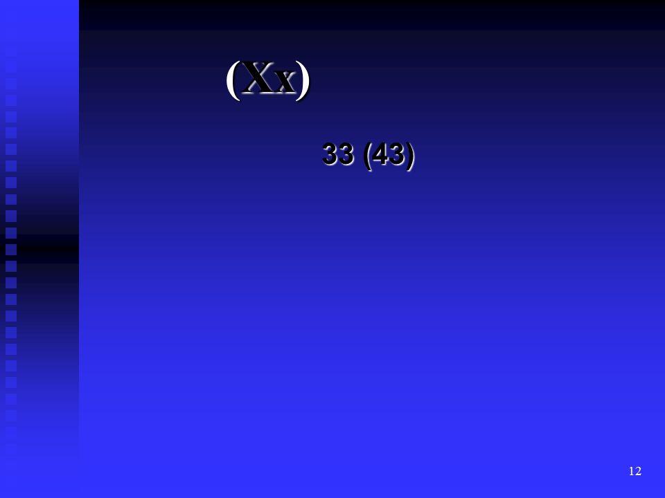 12 (Xx) 33 (43)
