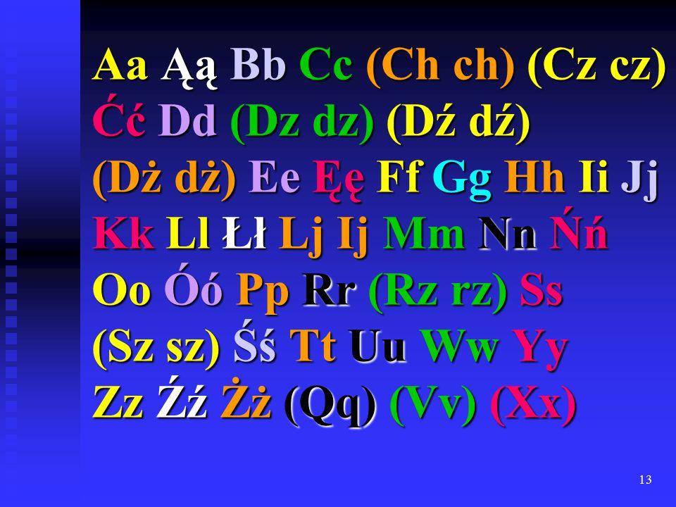 13 Aa Ąą Bb Cc (Ch ch) (Cz cz) Ćć Dd (Dz dz) (Dź dź) (Dż dż) Ee Ęę Ff Gg Hh Ii Jj Kk Ll Łł Lj Ij Mm Nn Ńń Oo Óó Pp Rr (Rz rz) Ss (Sz sz) Śś Tt Uu Ww Yy Zz Źź Żż (Qq) (Vv) (Xx)