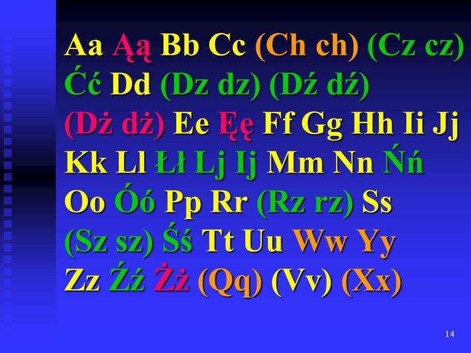 14 Aa Ąą Bb Cc (Ch ch) (Cz cz) Ćć Dd (Dz dz) (Dź dź) (Dż dż) Ee Ęę Ff Gg Hh Ii Jj Kk Ll Łł Lj Ij Mm Nn Ńń Oo Óó Pp Rr (Rz rz) Ss (Sz sz) Śś Tt Uu Ww Yy Zz Źź Żż (Qq) (Vv) (Xx)