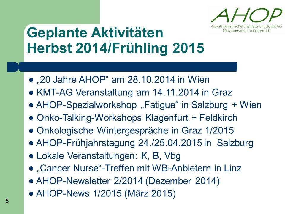 """Geplante Aktivitäten Herbst 2014/Frühling 2015 """"20 Jahre AHOP"""" am 28.10.2014 in Wien KMT-AG Veranstaltung am 14.11.2014 in Graz AHOP-Spezialworkshop """""""