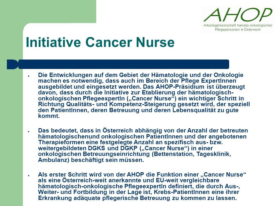 ● Die Entwicklungen auf dem Gebiet der Hämatologie und der Onkologie machen es notwendig, dass auch im Bereich der Pflege ExpertInnen ausgebildet und