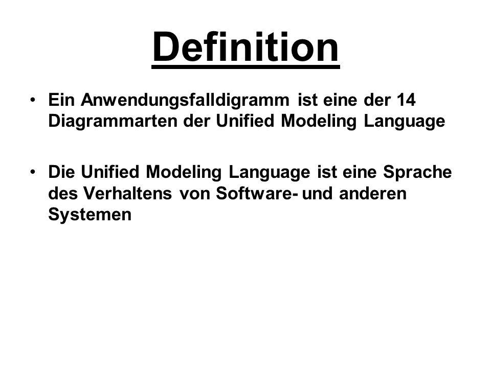 Definition Ein Anwendungsfalldigramm ist eine der 14 Diagrammarten der Unified Modeling Language Die Unified Modeling Language ist eine Sprache des Ve