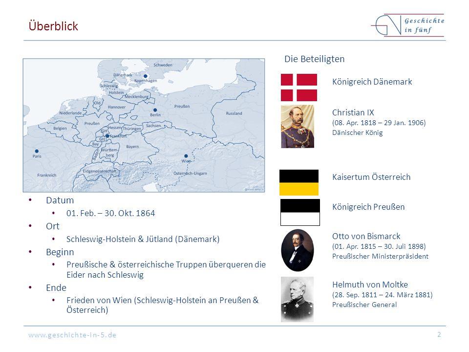 www.geschichte-in-5.de Überblick Datum 01. Feb. – 30. Okt. 1864 Ort Schleswig-Holstein & Jütland (Dänemark) Beginn Preußische & österreichische Truppe