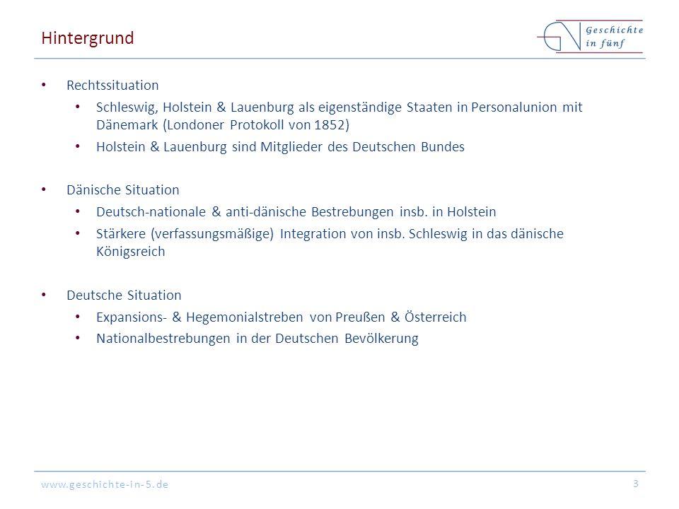 www.geschichte-in-5.de Hintergrund Rechtssituation Schleswig, Holstein & Lauenburg als eigenständige Staaten in Personalunion mit Dänemark (Londoner P