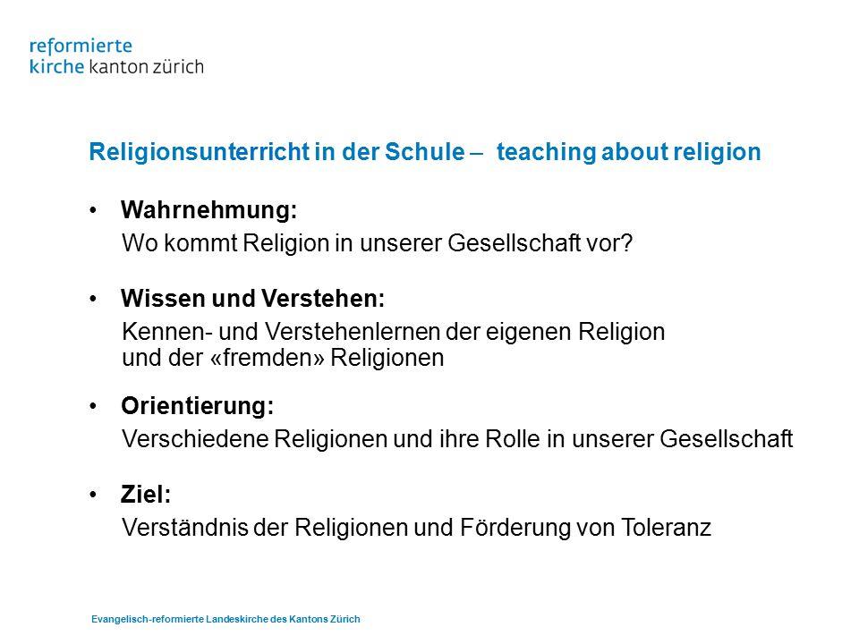Religionsunterricht in der Schule – teaching about religion Wahrnehmung: Wo kommt Religion in unserer Gesellschaft vor.