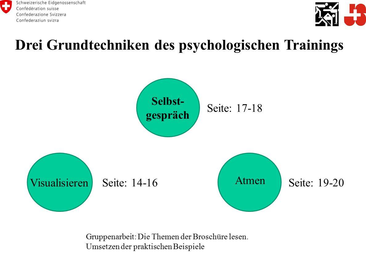 Drei Grundtechniken des psychologischen Trainings Gruppenarbeit: Die Themen der Broschüre lesen.