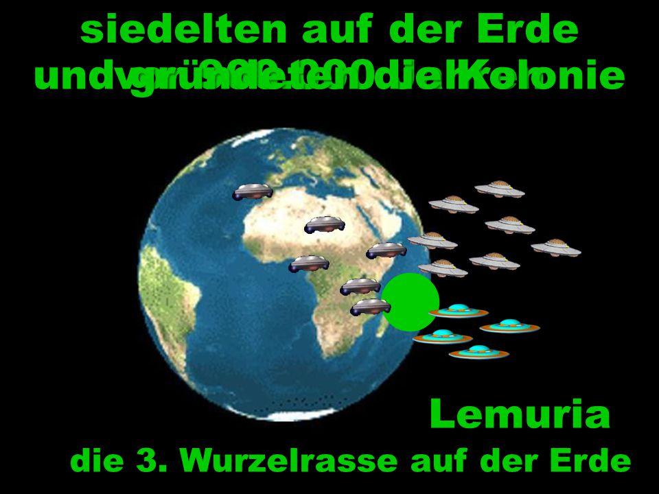 Lemuria die 3. Wurzelrasse auf der Erde siedelten auf der Erde vor 900.000 Jahren und gründeten die Kolonie