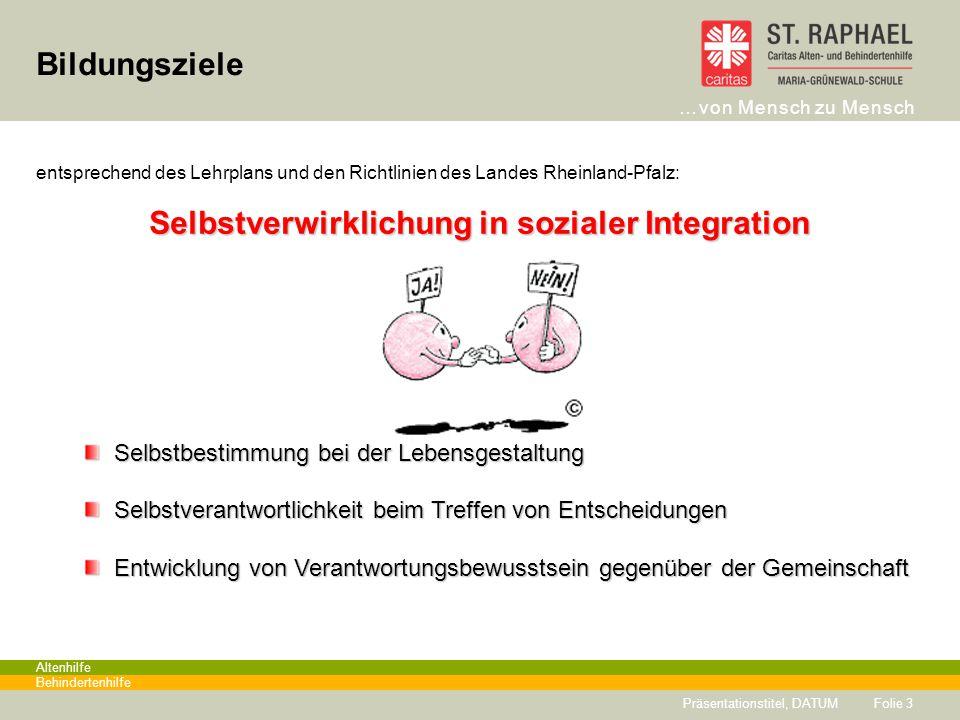 …von Mensch zu Mensch Altenhilfe Behindertenhilfe Bildungsziele Folie 3 entsprechend des Lehrplans und den Richtlinien des Landes Rheinland-Pfalz: Sel