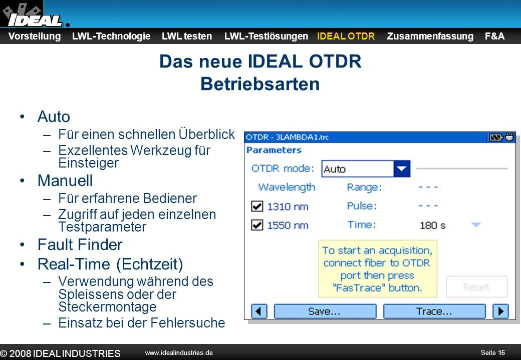 Seite 17 © 2008 IDEAL INDUSTRIES www.idealindustries.de Das neue IDEAL OTDR Umfangreiche PC-Software Kurvenanalyse Berichtserstellung PDF-Erstellung Datenexport in Bellcore-Format Bidirektionaler Viewer Vorstellung LWL-Technologie LWL testen LWL-Testlösungen IDEAL OTDR Zusammenfassung F&A