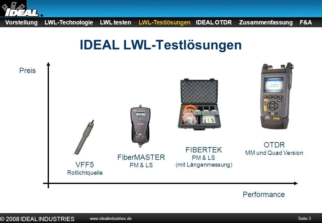 Seite 4 © 2008 IDEAL INDUSTRIES www.idealindustries.de Wir stellen vor: Das neue IDEAL OTDR Handheld Mikro-OTDR für Campus- und LAN-Anwendungen 2 Geräteversionen –Multimode 850nm/1300nm Wellenlänge -Quad (Multimode und Singlemode) 850/1300/1310/1550nm Wellenlänge Vorstellung LWL-Technologie LWL testen LWL-Testlösungen IDEAL OTDR Zusammenfassung F&A
