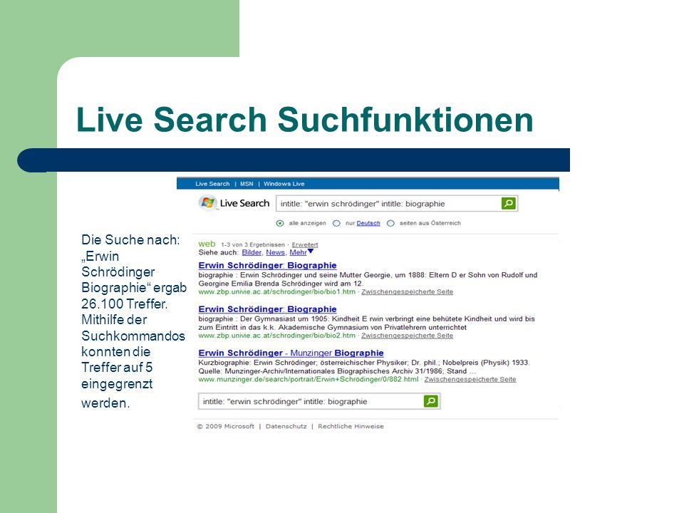 """Live Search Suchfunktionen Die Suche nach: """"Erwin Schrödinger Biographie ergab 26.100 Treffer."""