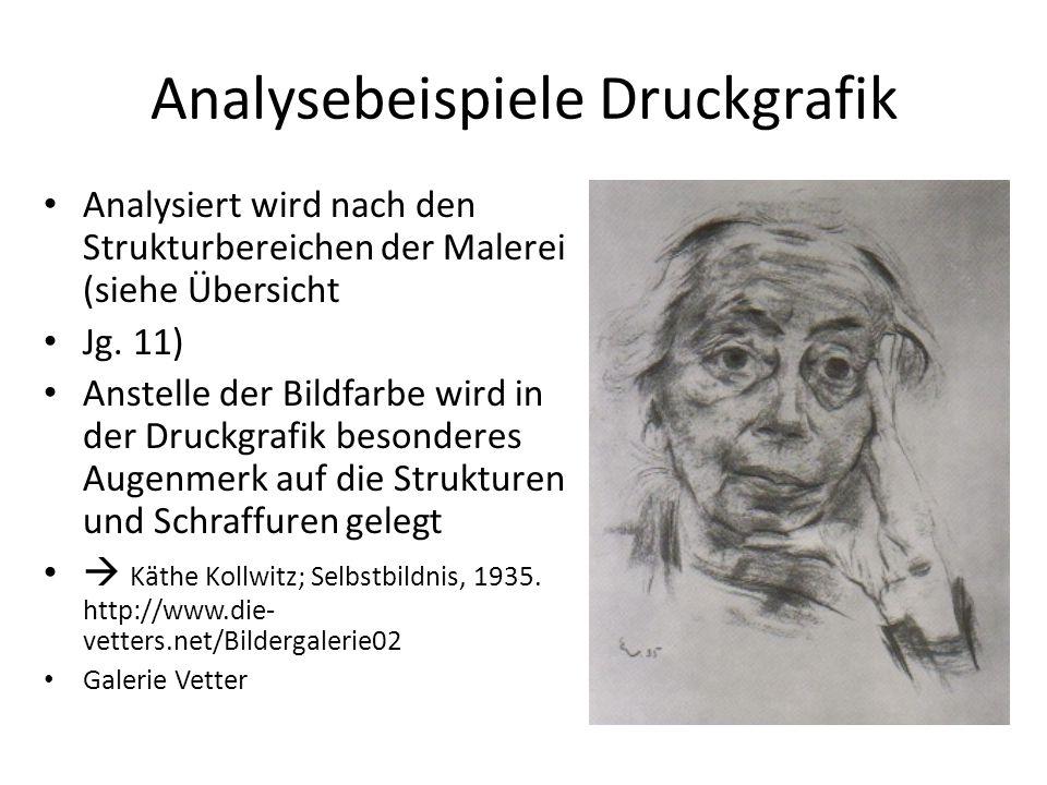 Analysebeispiele Druckgrafik Analysiert wird nach den Strukturbereichen der Malerei (siehe Übersicht Jg. 11) Anstelle der Bildfarbe wird in der Druckg