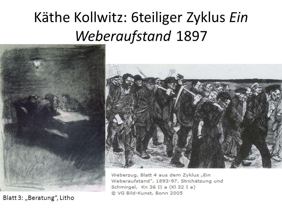 "Käthe Kollwitz: 6teiliger Zyklus Ein Weberaufstand 1897 Blatt 3: ""Beratung"", Litho"