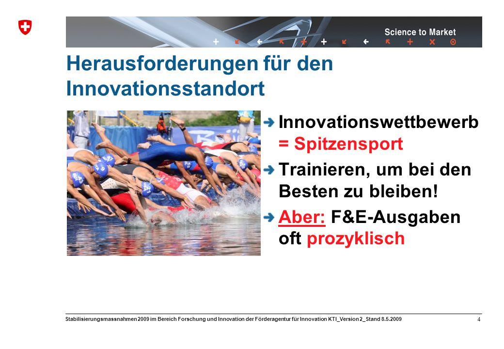 Science to Market 5 Stabilisierungsmassnahmen 2009 im Bereich Forschung und Innovation der Förderagentur für Innovation KTI_Version 2_Stand 8.5.2009 Finanzielle Entlastung der KMU in F&E Kompetenzerhalt bei Innovationen 0.5 Mio.