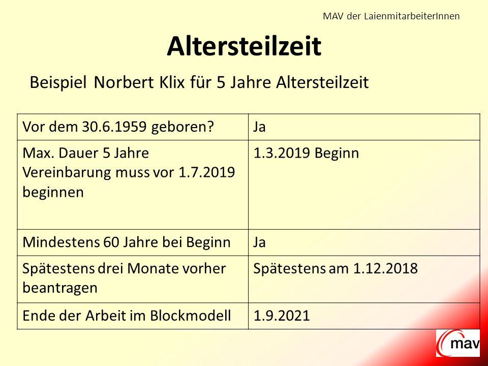 MAV der LaienmitarbeiterInnen Beispiel Norbert Klix für 5 Jahre Altersteilzeit Altersteilzeit Vor dem 30.6.1959 geboren?Ja Max.