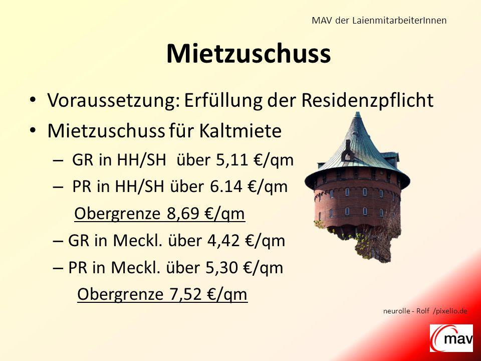 MAV der LaienmitarbeiterInnen Voraussetzung: Erfüllung der Residenzpflicht Mietzuschuss für Kaltmiete – GR in HH/SH über 5,11 €/qm – PR in HH/SH über 6.14 €/qm Obergrenze 8,69 €/qm – GR in Meckl.