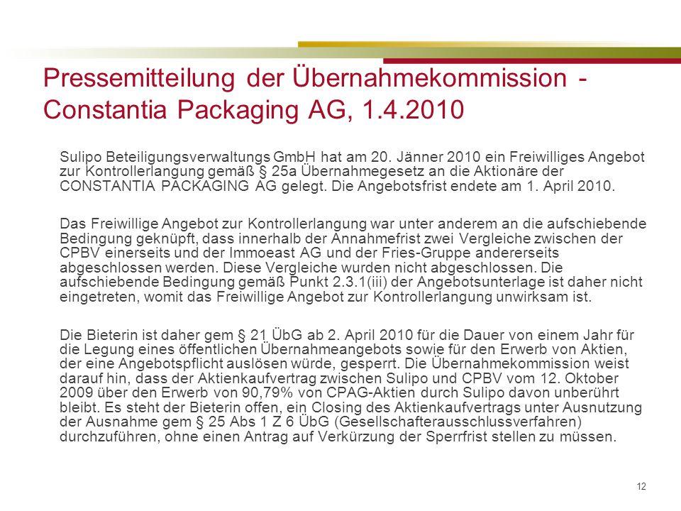 12 Pressemitteilung der Übernahmekommission - Constantia Packaging AG, 1.4.2010 Sulipo Beteiligungsverwaltungs GmbH hat am 20.