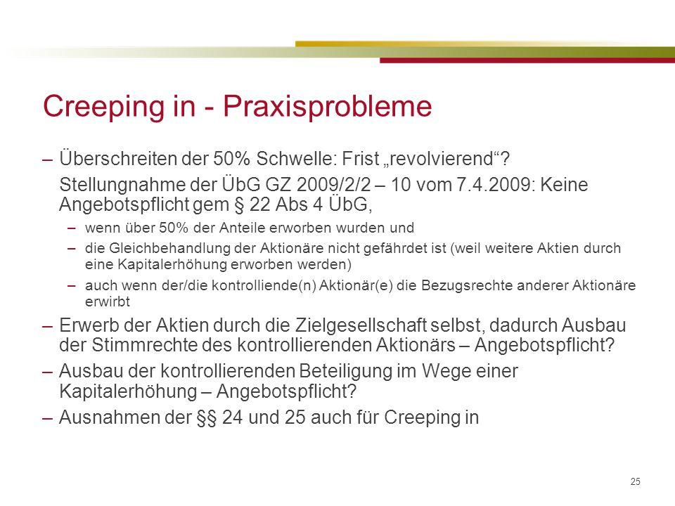 """25 Creeping in - Praxisprobleme –Überschreiten der 50% Schwelle: Frist """"revolvierend ."""