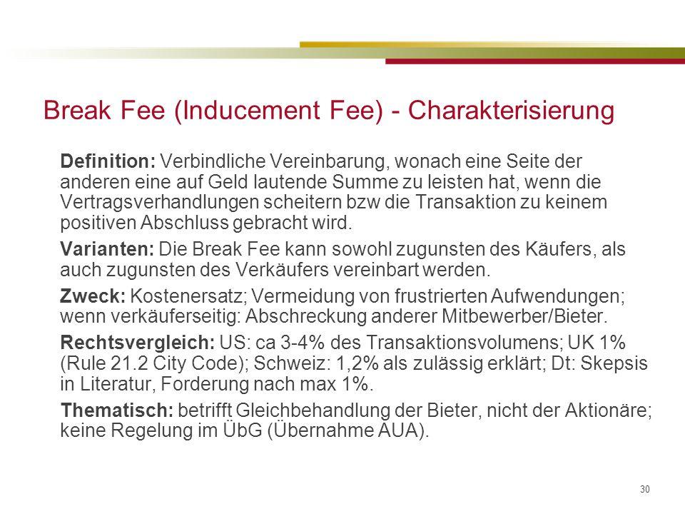 30 Break Fee (Inducement Fee) - Charakterisierung Definition: Verbindliche Vereinbarung, wonach eine Seite der anderen eine auf Geld lautende Summe zu leisten hat, wenn die Vertragsverhandlungen scheitern bzw die Transaktion zu keinem positiven Abschluss gebracht wird.