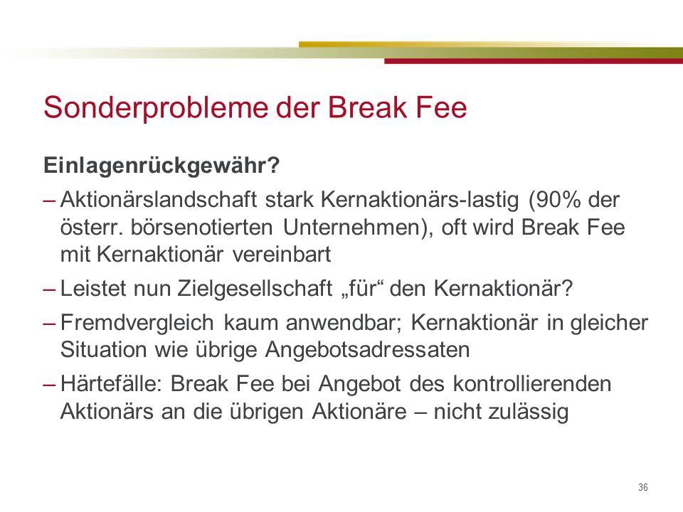36 Sonderprobleme der Break Fee Einlagenrückgewähr.