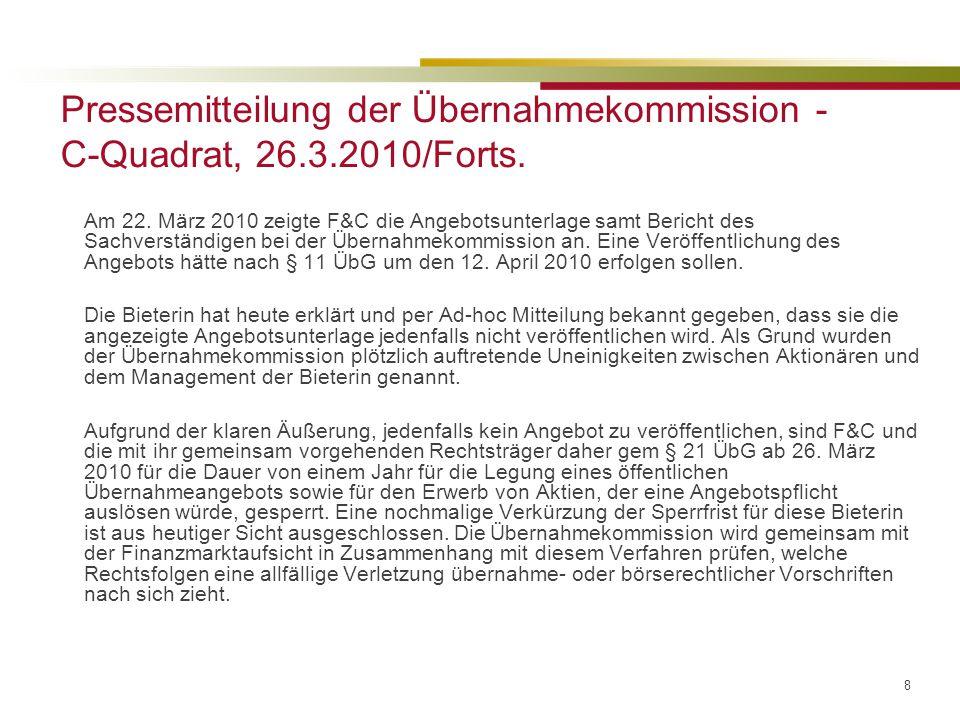 19 Stimmrechtsruhen – Erwerb eigener Aktien –Stimmrechte aus eigenen Aktien ruhen (§ 65 Abs 5 AktG) –Überschreiten der Schwelle durch Kernaktionär bei Erwerb eigener Aktien durch die Gesellschaft – passive Kontrollerlangung gem § 22b ÜbG kaum anwendbar –Stellungnahme der ÜbK GZ 2010/3/4 – 10 vom 30.11.2010 Telekom Austria AG: Ein Überschreiten der Kontrollschwelle gemäß § 22 Abs 1 und 2 ÜbG durch Österreichische Industrieholding Aktiengesellschaft in Folge eines Aktienrückkaufs durch Telekom Austria AG ist nicht als passive Kontrollerlangung iSv § 22b ÜbG zu qualifizieren und zieht die Pflicht zur Legung eines Angebots gemäß § 22 Abs 1 ÜbG nach sich, sofern keine Ausnahme gemäß §§ 24, 25 ÜbG zum Tragen kommt. –Allerdings: ÜbK betont Zustimmung zu der ÖIAG zum Rückerwerbsprogramm der TA –ÜbK betont Ausnahme gem § 24 ÜbG (unabsichtliches Überschreiten) anwendbar