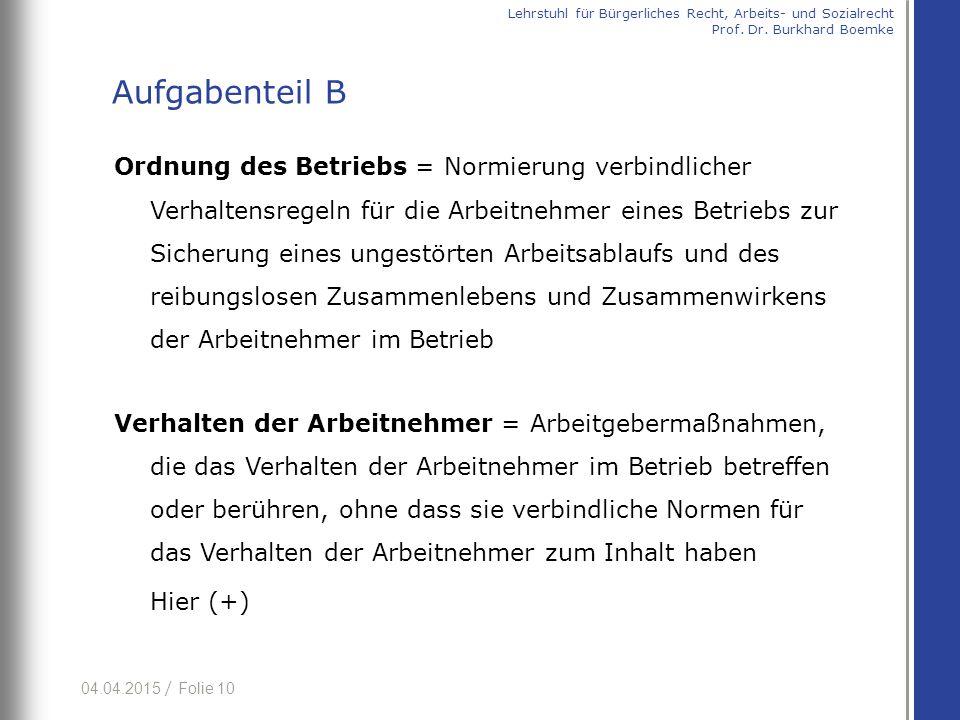 04.04.2015 / Folie 10 Ordnung des Betriebs = Normierung verbindlicher Verhaltensregeln für die Arbeitnehmer eines Betriebs zur Sicherung eines ungestö