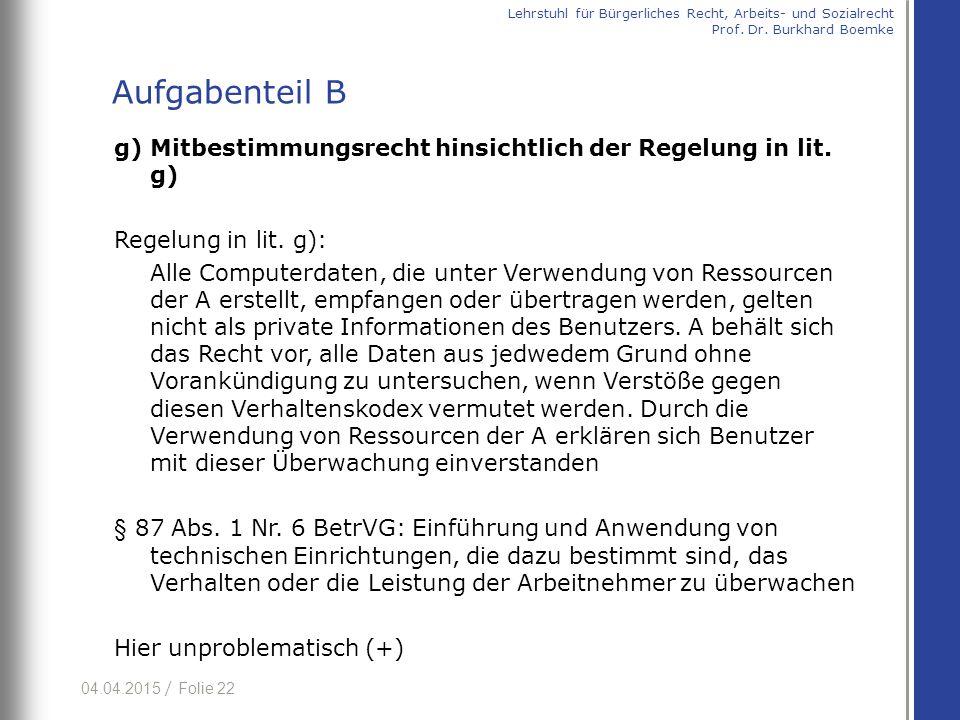 04.04.2015 / Folie 22 g) Mitbestimmungsrecht hinsichtlich der Regelung in lit. g) Regelung in lit. g): Alle Computerdaten, die unter Verwendung von Re