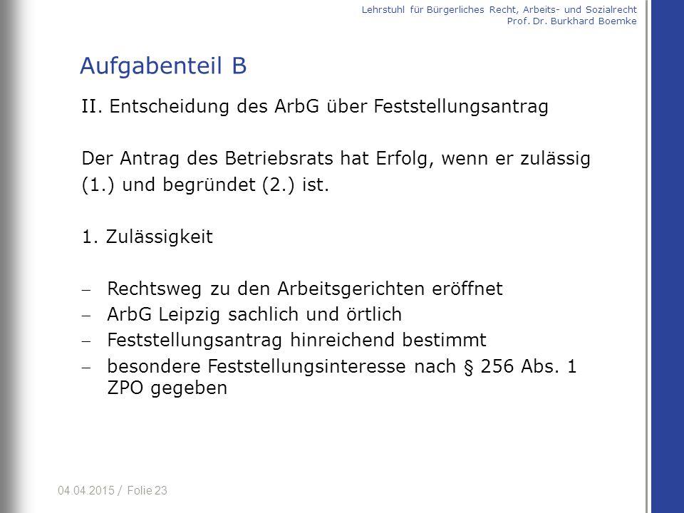 04.04.2015 / Folie 23 II. Entscheidung des ArbG über Feststellungsantrag Der Antrag des Betriebsrats hat Erfolg, wenn er zulässig (1.) und begründet (