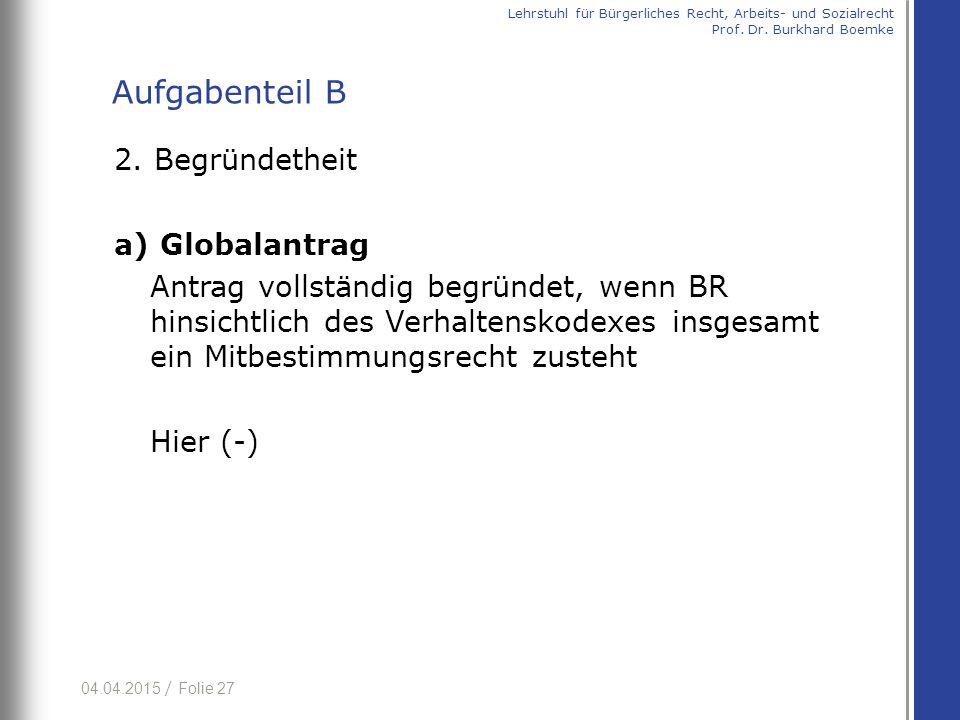 04.04.2015 / Folie 27 2. Begründetheit a) Globalantrag Antrag vollständig begründet, wenn BR hinsichtlich des Verhaltenskodexes insgesamt ein Mitbesti