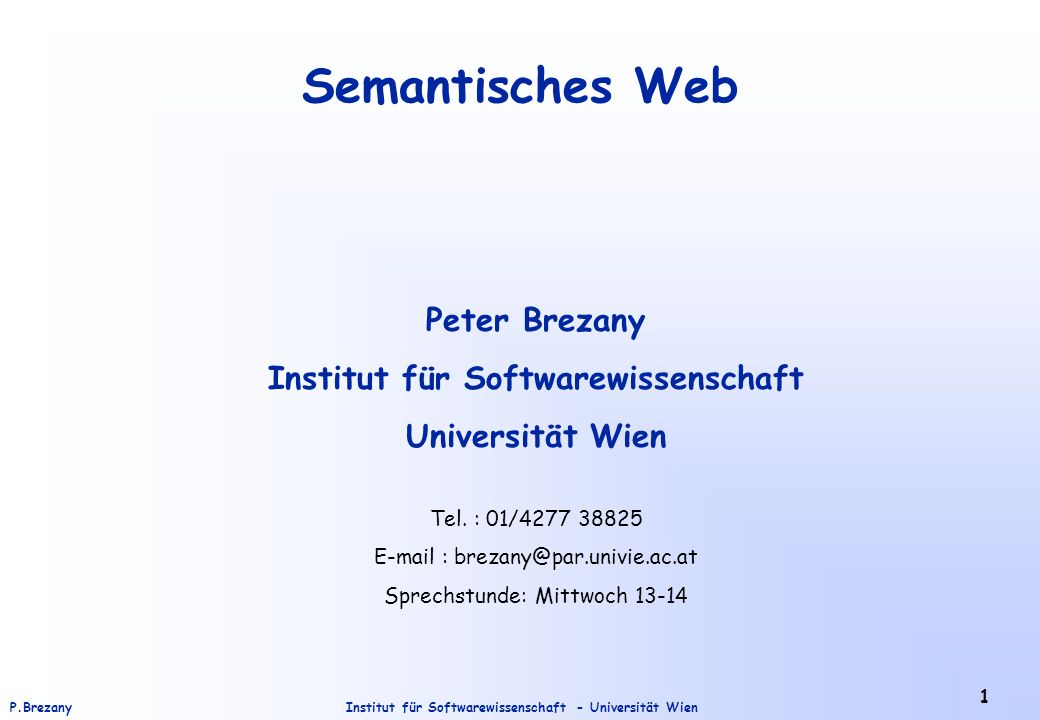 Institut für Softwarewissenschaft - Universität WienP.Brezany 32 Einführung zum RDF Schema (RDFS) (3) </rdfs:Class Properties können mit ihrem domain und range definiert werden, und in einer property Hierarchie organisiert werden – durch subPropertyOf: </rdfs:Property
