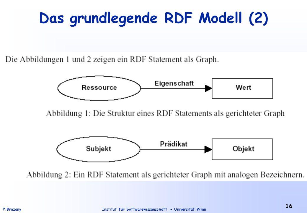 Institut für Softwarewissenschaft - Universität WienP.Brezany 16 Das grundlegende RDF Modell (2)