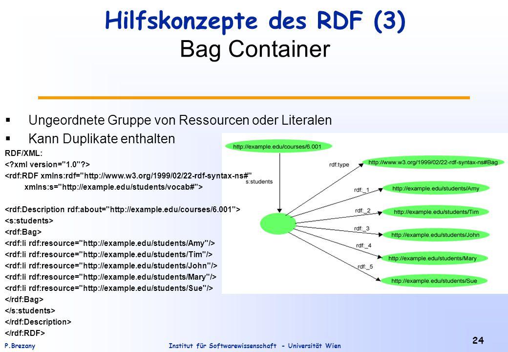 Institut für Softwarewissenschaft - Universität WienP.Brezany 24 Hilfskonzepte des RDF (3) Bag Container  Ungeordnete Gruppe von Ressourcen oder Literalen  Kann Duplikate enthalten RDF/XML: <rdf:RDF xmlns:rdf= http://www.w3.org/1999/02/22-rdf-syntax-ns# xmlns:s= http://example.edu/students/vocab# >