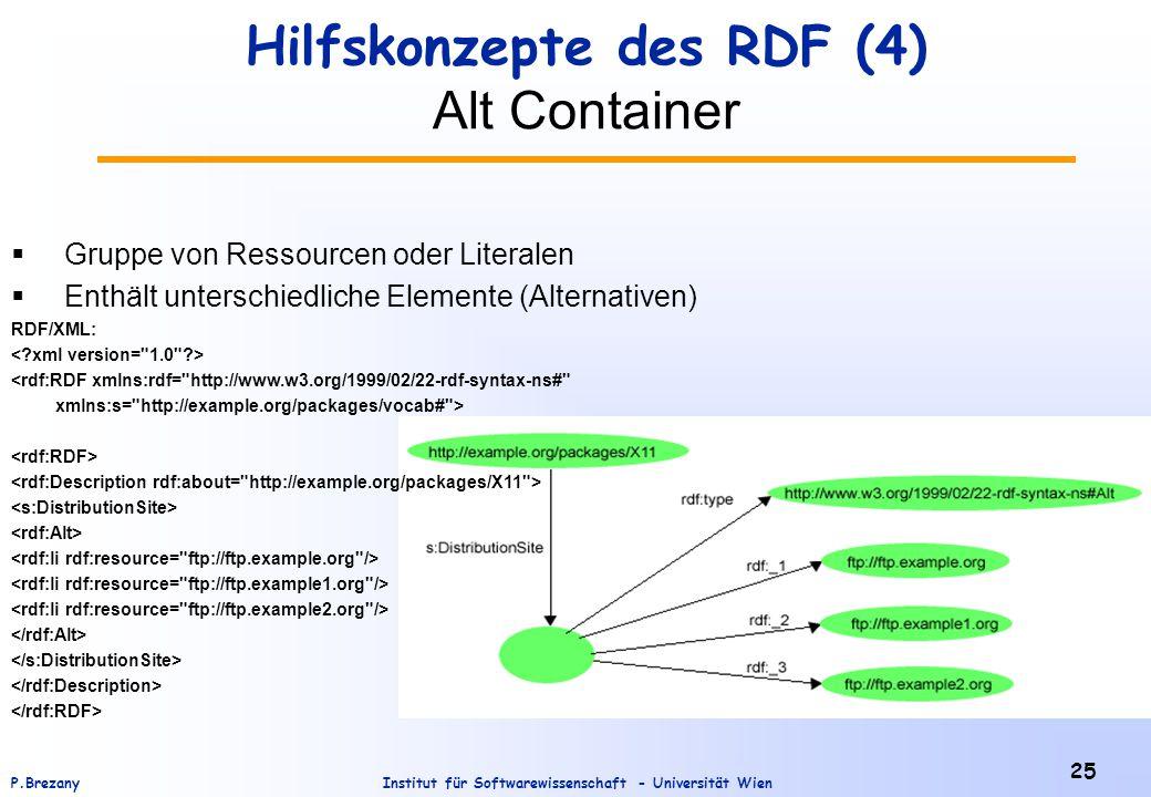Institut für Softwarewissenschaft - Universität WienP.Brezany 25 Hilfskonzepte des RDF (4) Alt Container  Gruppe von Ressourcen oder Literalen  Enthält unterschiedliche Elemente (Alternativen) RDF/XML: <rdf:RDF xmlns:rdf= http://www.w3.org/1999/02/22-rdf-syntax-ns# xmlns:s= http://example.org/packages/vocab# >