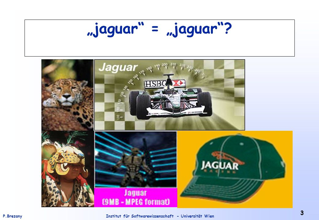 Institut für Softwarewissenschaft - Universität WienP.Brezany 44 RDQL - Query Example 1 Query: SELECT ?x WHERE (?x,, John Smith ) Result: http://somewhere/JohnSmith/ Example 2 Query: SELECT ?x WHERE ( http://www.w3.org/2001/vcard-rdf/3.0#FN , ?x, John Smith ) Result: http://www.w3.org/2001/vcard-rdf/3.0#FN