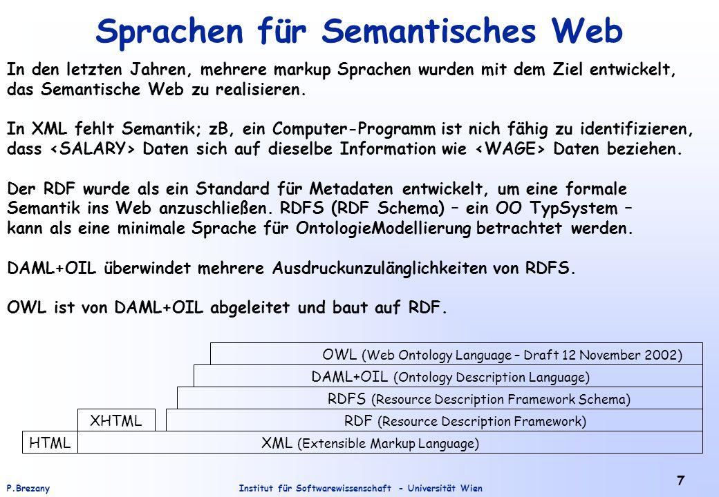 Institut für Softwarewissenschaft - Universität WienP.Brezany 28 Hilfskonzepte des RDF (7) <rdf:RDF <rdf:li resource= http://www.edu.de/home.htm <rdf:li resource= http://www.uni.de/index.htm <rdf:Description aboutEach=#pages Werner Muster Die Aussage, die hier über die beiden HTML Dokumente gemacht wird könnte genauso durch zwei eigenständige Statements getroffen werden.
