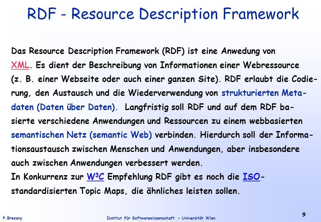 Institut für Softwarewissenschaft - Universität WienP.Brezany 40 Simple RDF – Example (instance of the vCard ontology) <rdf:RDF xmlns:rdf= http://www.w3.org/1999/02/22-rdf-syntax-ns# xmlns:vCard= http://www.w3.org/2001/vcard-rdf/3.0# > John Smith Smith John