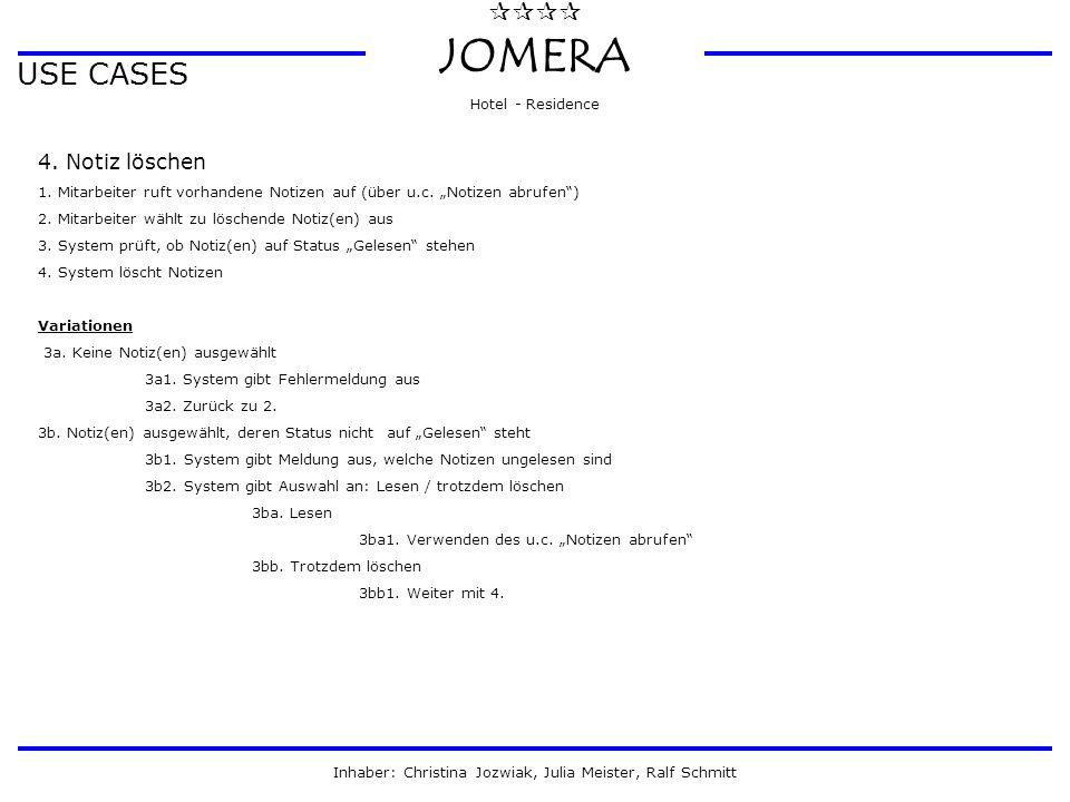  JOMERA Hotel - Residence Inhaber: Christina Jozwiak, Julia Meister, Ralf Schmitt USE CASES 4. Notiz löschen 1. Mitarbeiter ruft vorhandene Notize