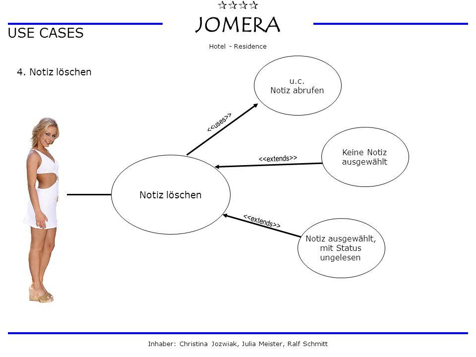  JOMERA Hotel - Residence Inhaber: Christina Jozwiak, Julia Meister, Ralf Schmitt USE CASES 4. Notiz löschen Notiz löschen Notiz ausgewählt, mit S
