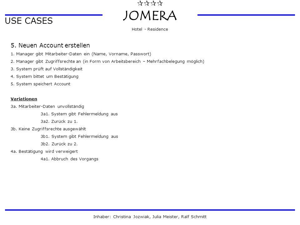  JOMERA Hotel - Residence Inhaber: Christina Jozwiak, Julia Meister, Ralf Schmitt USE CASES 5. Neuen Account erstellen 1. Manager gibt Mitarbeiter