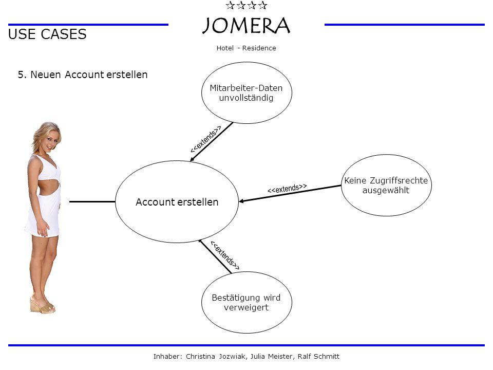  JOMERA Hotel - Residence Inhaber: Christina Jozwiak, Julia Meister, Ralf Schmitt USE CASES 5. Neuen Account erstellen Account erstellen Mitarbeit