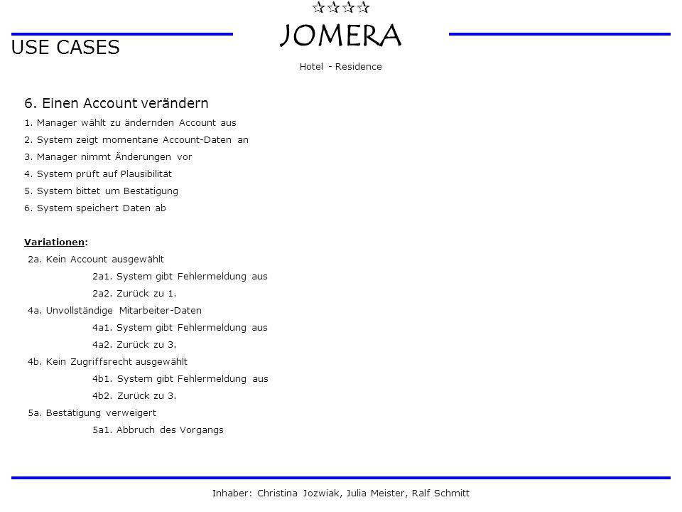  JOMERA Hotel - Residence Inhaber: Christina Jozwiak, Julia Meister, Ralf Schmitt USE CASES 6. Einen Account verändern 1. Manager wählt zu ändernd