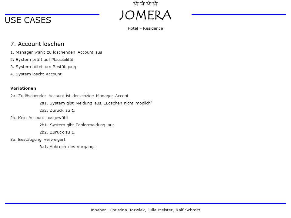  JOMERA Hotel - Residence Inhaber: Christina Jozwiak, Julia Meister, Ralf Schmitt USE CASES 7. Account löschen 1. Manager wählt zu löschenden Acco