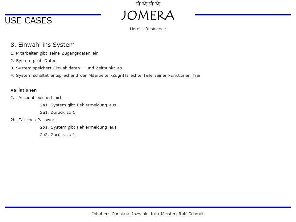 JOMERA Hotel - Residence Inhaber: Christina Jozwiak, Julia Meister, Ralf Schmitt USE CASES 8. Einwahl ins System 1. Mitarbeiter gibt seine Zugang